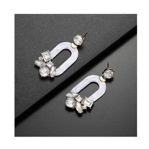 White Resin Dangle Earrings
